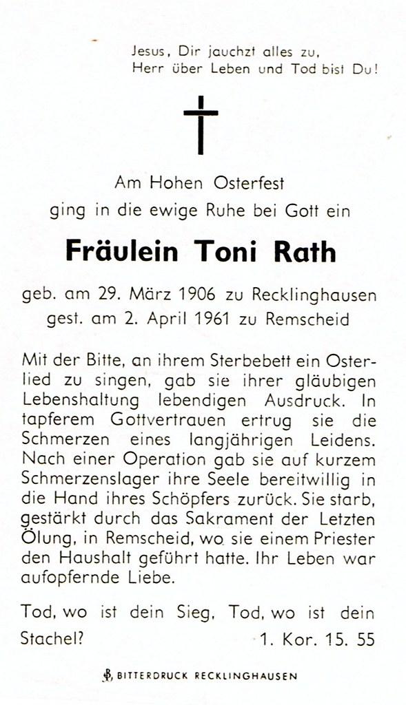 Totenzettel Rath, Toni † 02.04.1961