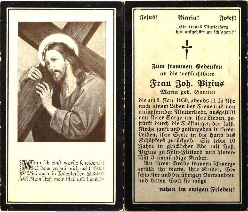 Totenzettel Pirius, Maria geb.Sonnen † 02.01.1939