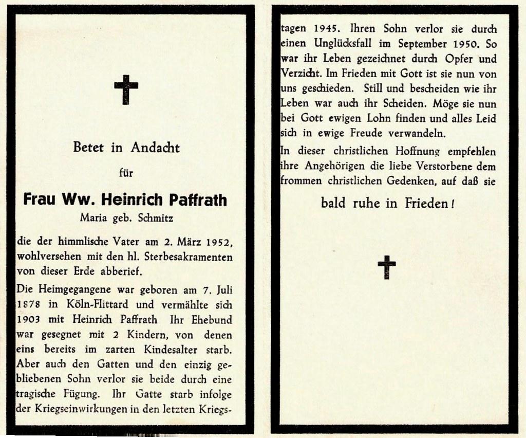 Totenzettel Paffrath, Maria geb. Schmitz † 02.03.1952