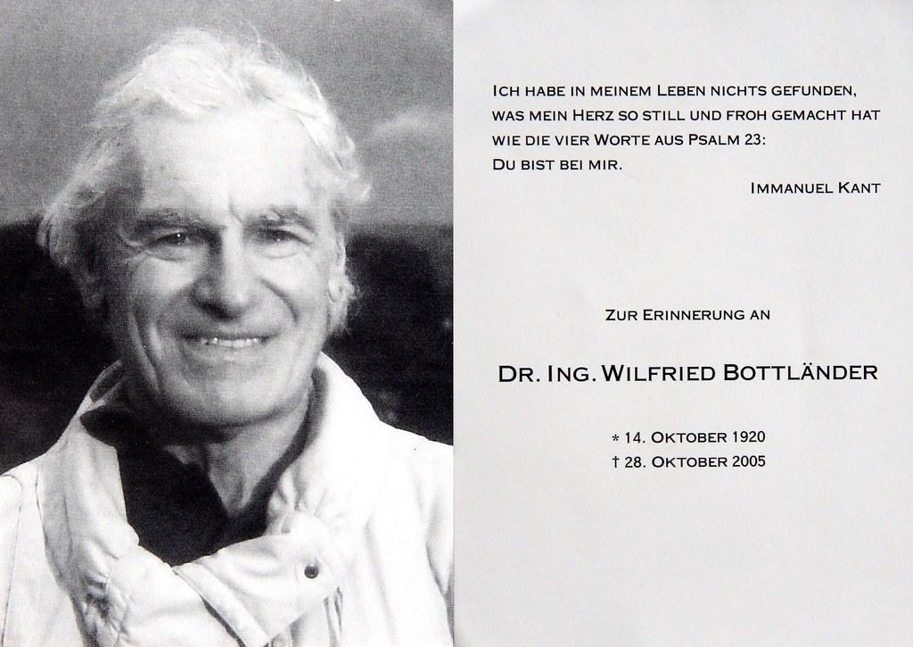 Totenzettel Bottländer, Wilfried † 28.10.2005