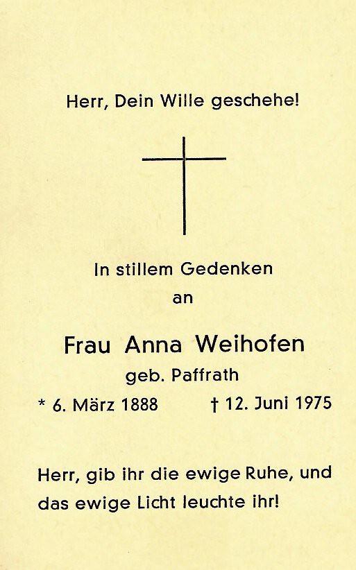 Totenzettel Weihofen, Anna geb. Paffrath † 12.06.1975