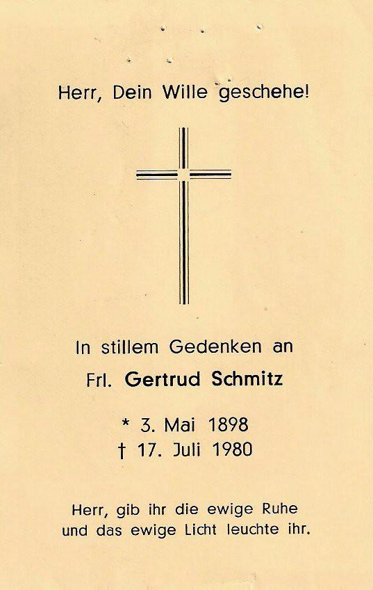 Totenzettel Schmitz, Gertrud † 17.07.1980
