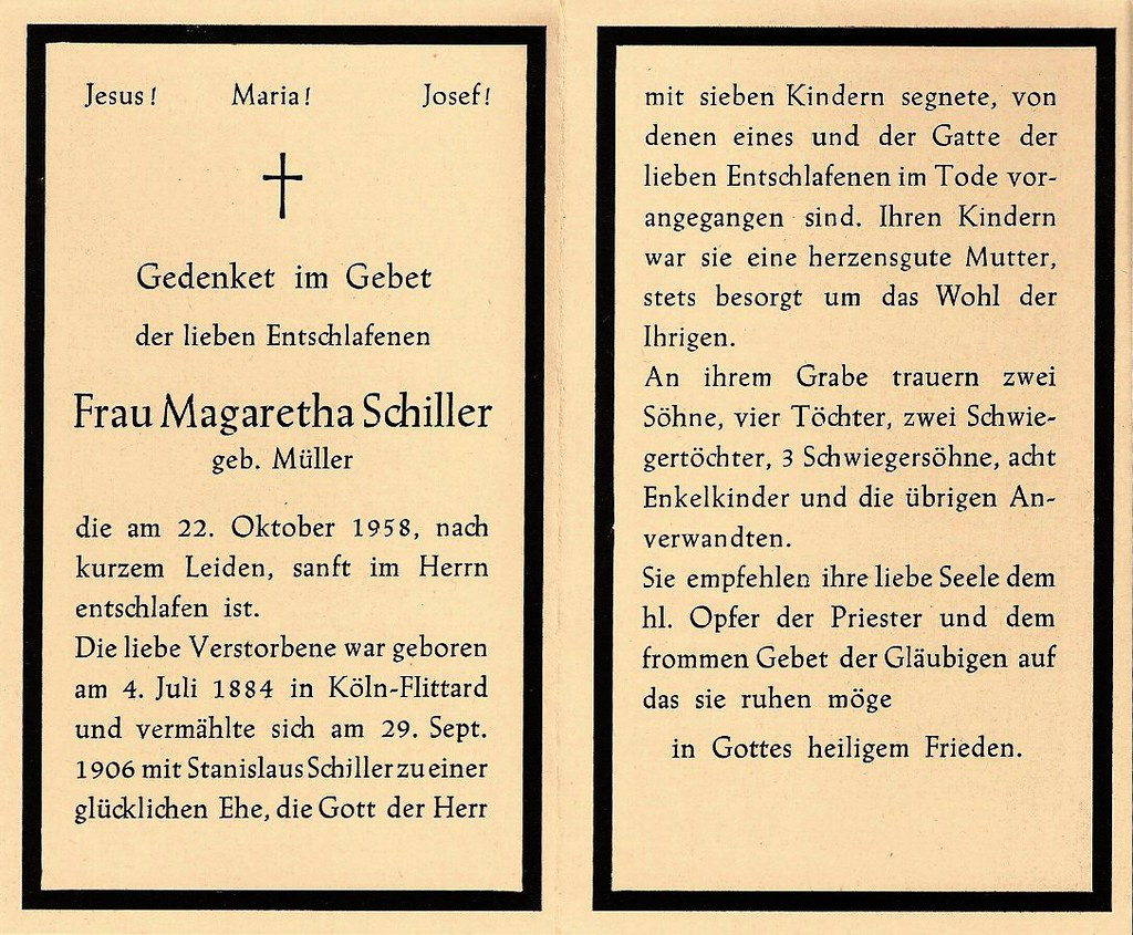 Totenzettel Schiller, Margarethe † 22.10.1958