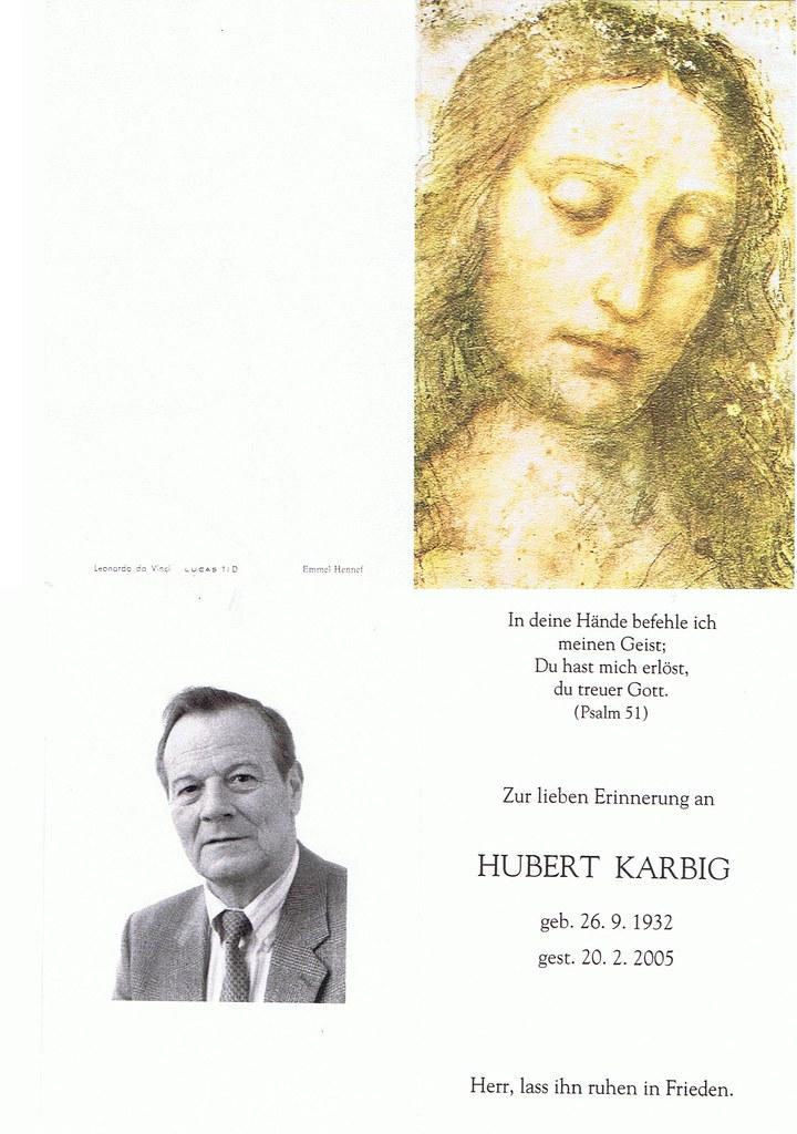 Totenzettel Karbig, Hubert † 20.02.2005