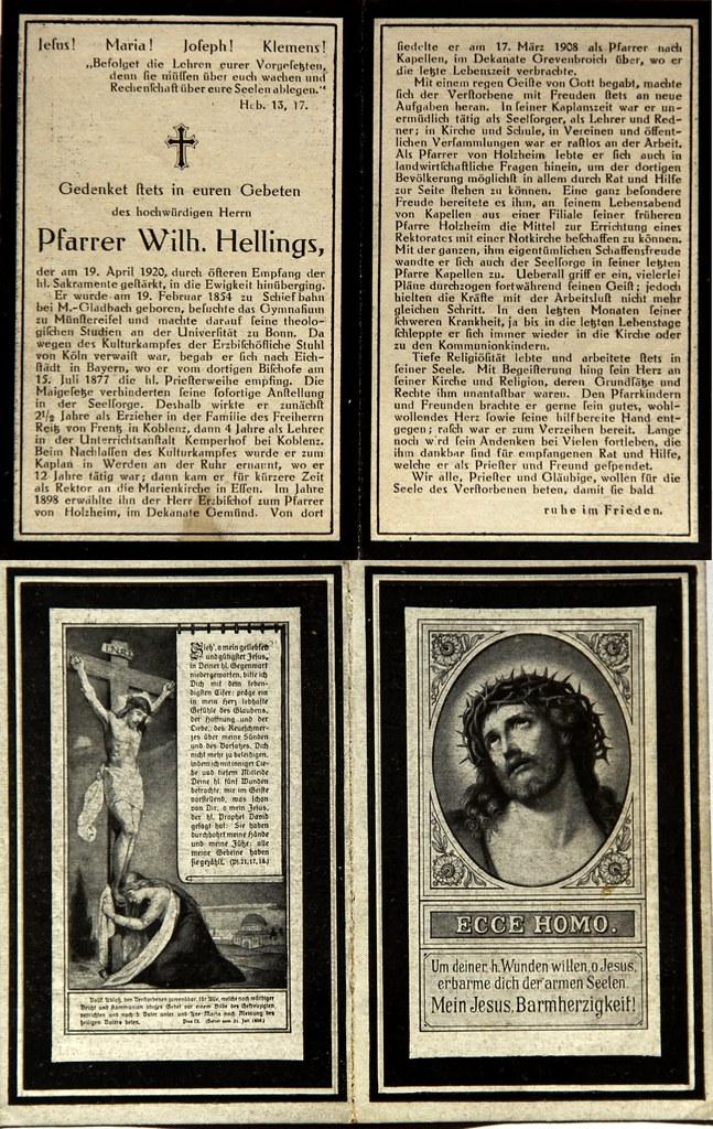 Totenzettel Hellings, Wilhelm - Pfarrer † 19.04.1920