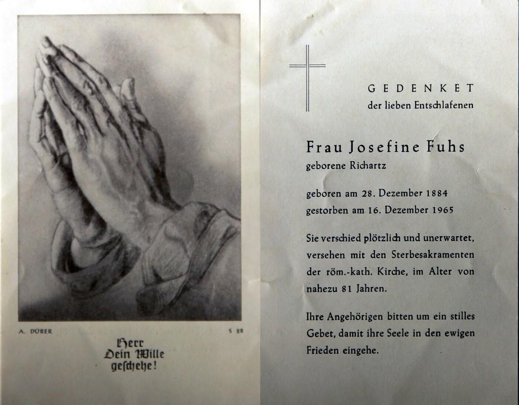 Totenzettel Fuhs, Josefine † 16.12.1965