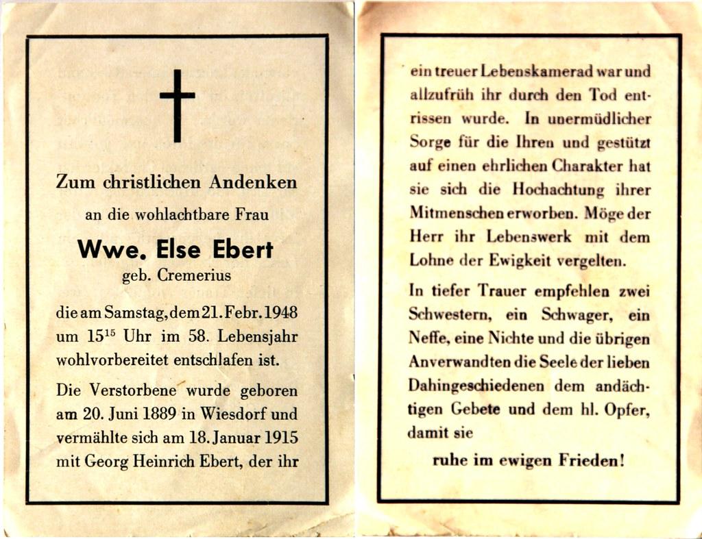 Totenzettel Ebert, Else † 21.02.1948