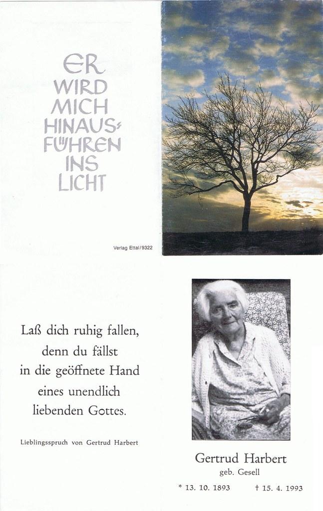 Totenzettel Gesell, Gertrud † 15.04.1993