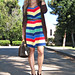 striped dress+brown accessories+louis vuitton+miu miu+tom ford