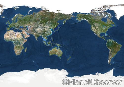 Whole Earth centred on Pacific Ocean - Satellite image - PlanetObserver | by PlanetObserver