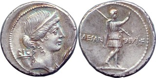 Sear Imperators 400 #10124-37 CAESAR DIVI F Pax cornucopiae olive branch, Octavian walking Denarius, great details of military attire | by Ahala