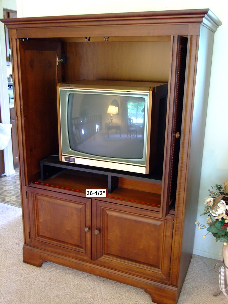 Cherry wood armoire tv entertainment center
