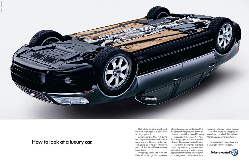 "How to look at a luxury car"" VW Phaeton magazine ad 