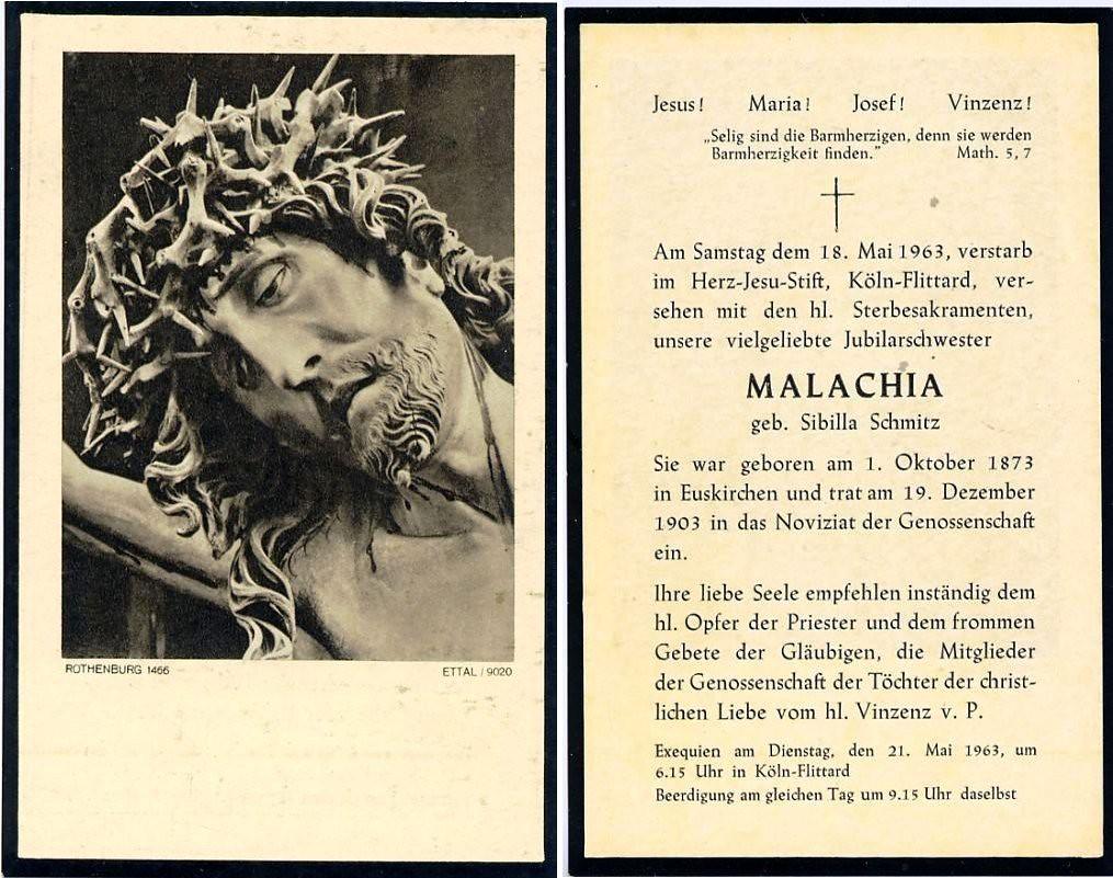 Totenzettel Schmitz, Sibilla - Schwester Malachia † 18.05.1963
