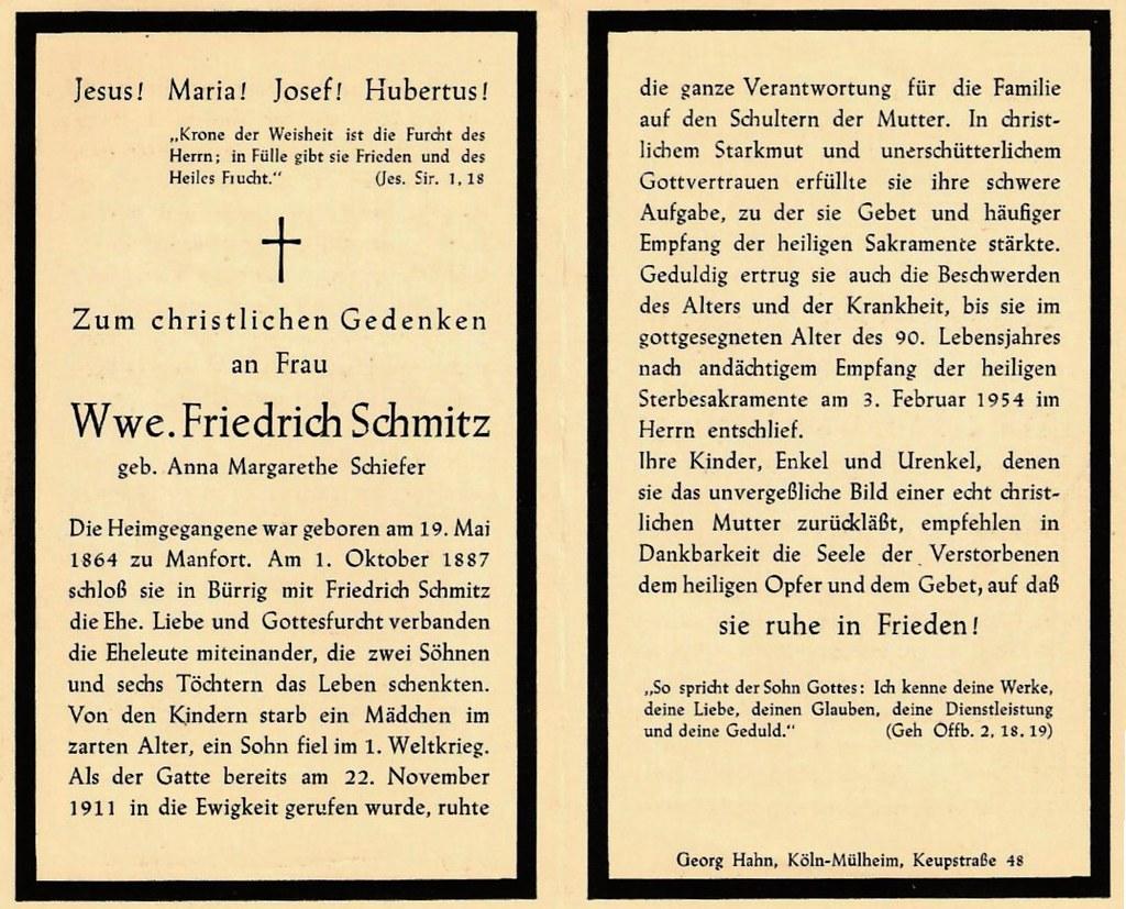 Totenzettel Schmitz, Anna Margarethe geb. Schiefer † 03.02.1954