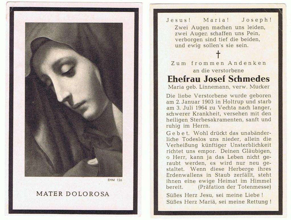 Totenzettel Linnemann, Maria † 03.07.1964