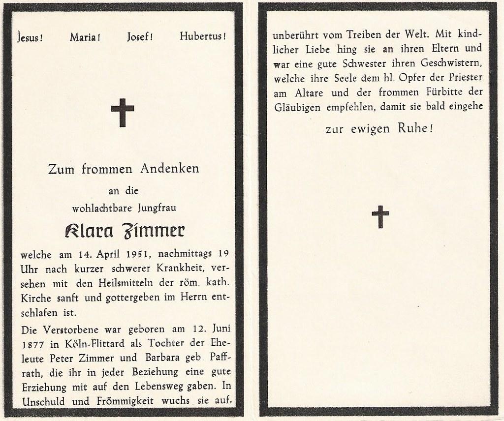 Totenzettel Zimmer, Klara † 14.04.1951