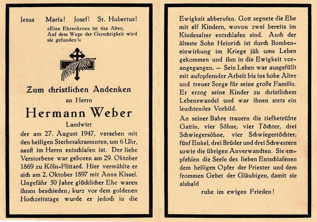 Totenzettel Weber, Hermann † 27.08.1947