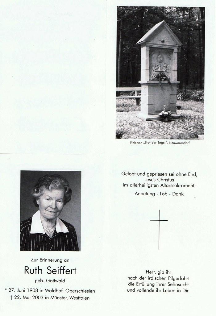 Totenzettel Seiffert, Ruth geb. Gottwald † 22.05.2003