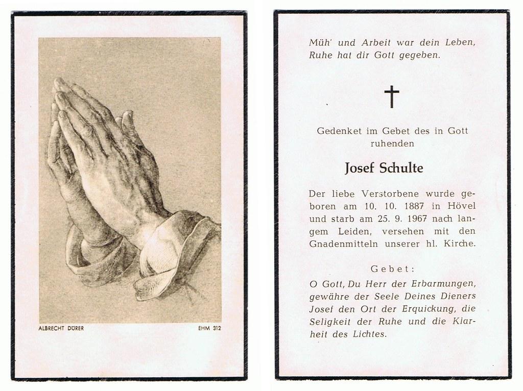 Totenzettel Schulte, Josef † 25.09.1967