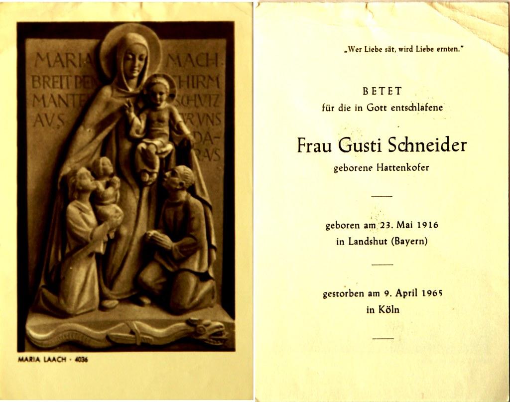 Totenzettel Schneider, Gusti † 09.04.1965