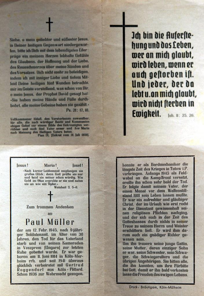 Totenzettel Müller, Paul † 12.02.1945