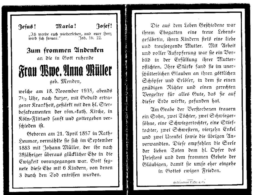 Totenzettel Müller, Anna geb. Menden † 18.11.1935