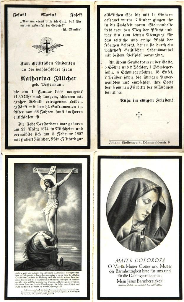 Totenzettel Jülicher, Katharina † 01.01.1939