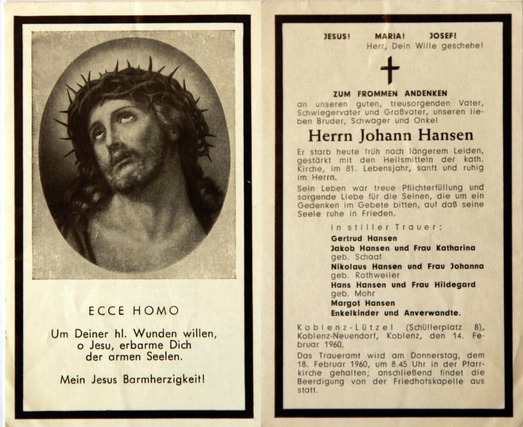 Totenzettel Hansen, Johann † 14.02.1960