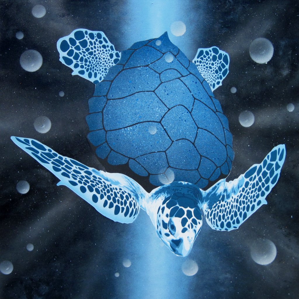 Cosmic Sea Turtle Painting Original Stencil Painting On