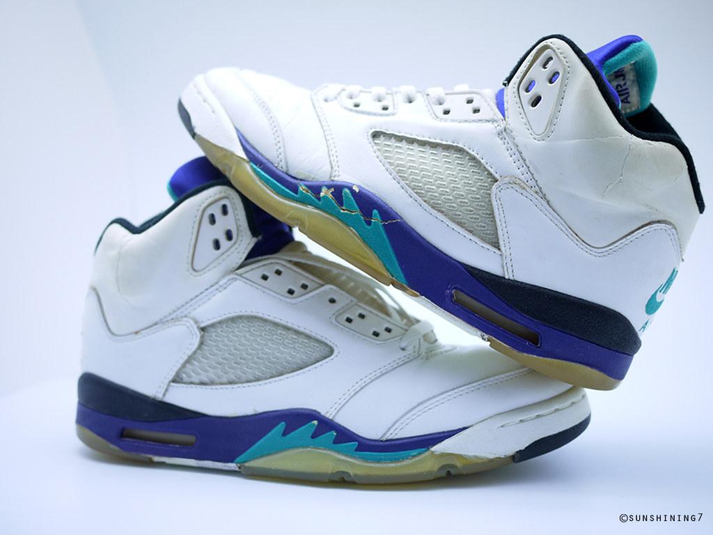 best cheap 81150 13511 ... cheap sunshining7 nike air jordan v 5 og 1990 white purple emerald  3a31f 39af7
