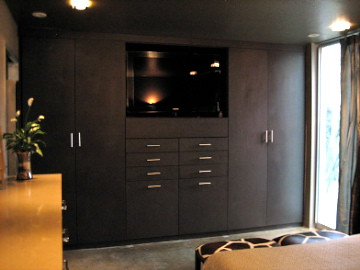 custom bedroom media center and wardrobe california closets of the