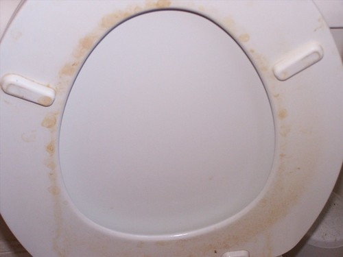 how to clean a stained toilet pan