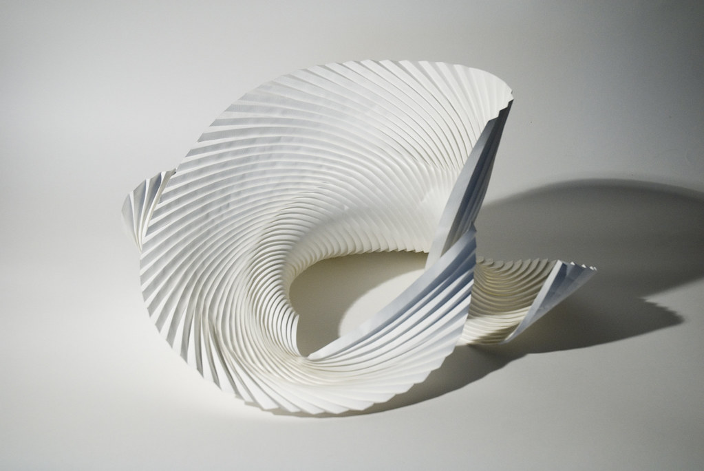 Untitled curved pleat wet folded watercolour paper