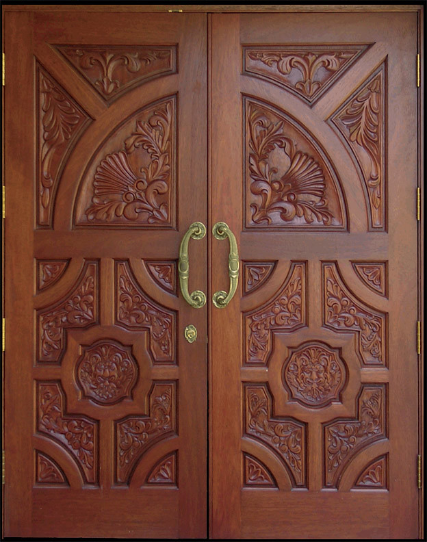 Custom mahogany carving doors luxury hand carved