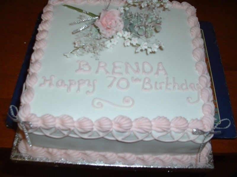 Images Of Square Birthday Cake : 70th Birthday Flower Cake Square birthday cake with ...