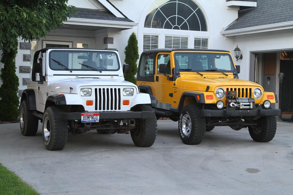 Jeep Wrangler TJ vs YJ Comparo | Side-by-side White 1995 ...