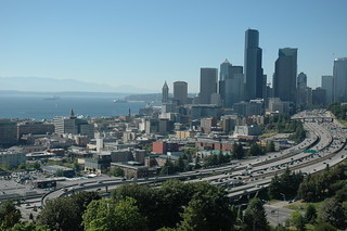 Our town, Seattle, Washington, view of Hi 5, skyscrapers, top of the Space Needle, Puget Sound, from Amazon.com, Beacon Hill, on a lovely summer day, USA | by Wonderlane