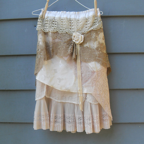 Layered Lace Garden Party Tea Skirt Upcycled Vintage Slip | by Resurrection Rags