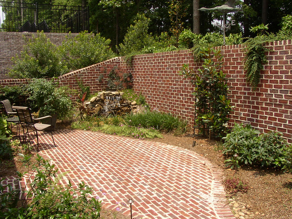 ... Brick Walls Patio Pondless Water Feature | By ARNOLD Masonry And