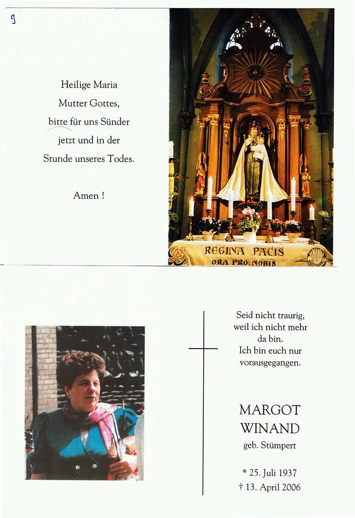 Totenzettel Winand, Margot † 13.04.2006