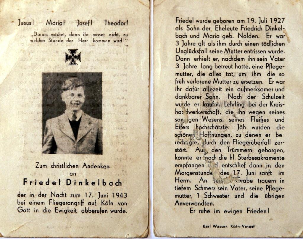 Totenzettel Dinkelbach, Friedel † 17.06.1943