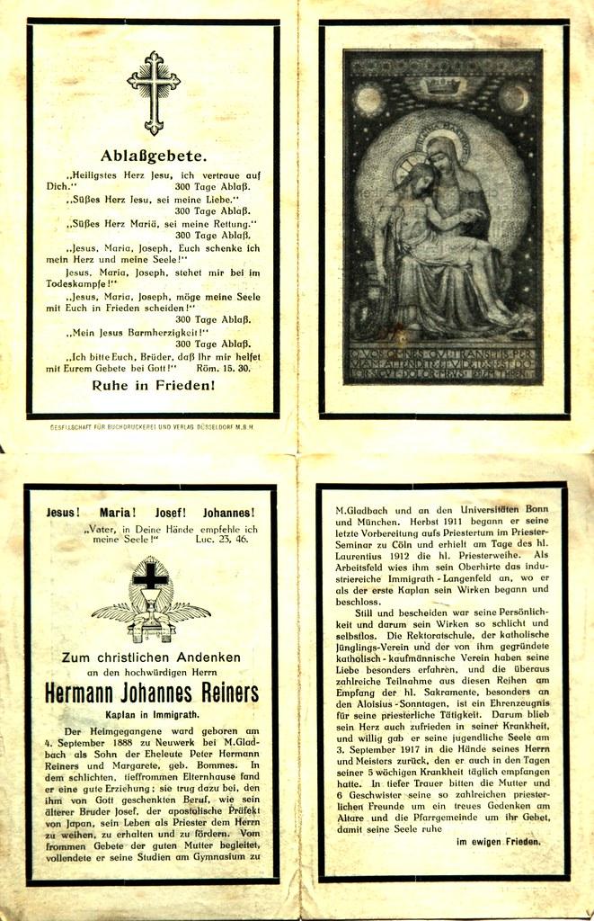 Totenzettel Reiners, Hermann Johannes Kaplan † 03.09.1917