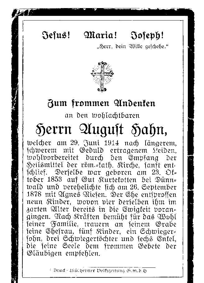 Totenzettel Hahn, August † 29.06.1914
