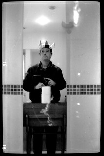 reflected self-portrait with Kodak VP camera and jester's hat | by pho-Tony