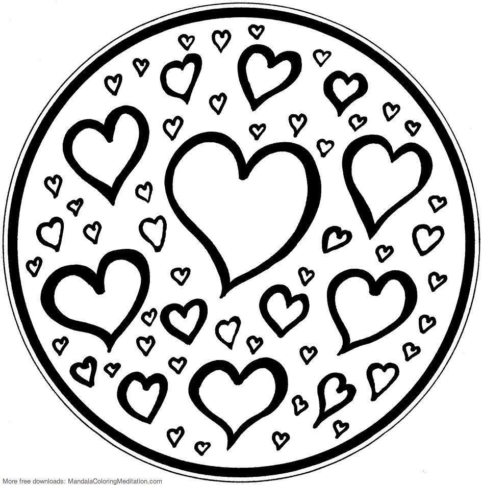 Printable children coloring page: hearts mandala 2   Flickr