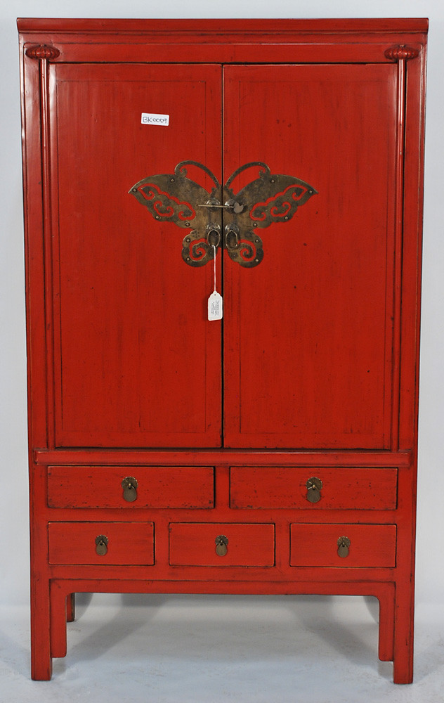 Bk0009y Antique Red Lacquered Chinese Cabinet Antique