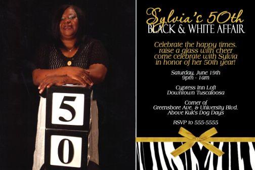 50th Black Tie Affair Birthday Invitation Zebra Print Gold ...