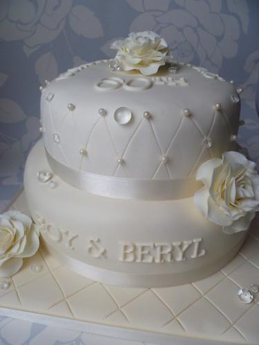 diamond 60th wedding anniversary cake handmade flowers. Black Bedroom Furniture Sets. Home Design Ideas