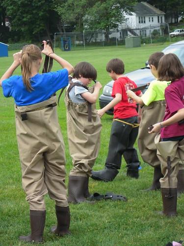 Kids in waders | Photo Credit: Gillian Ball / USFWS | U.S ...